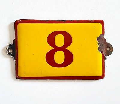 Antique Vintage French Enamel Porcelain Door House Gate Number Sign Plate 8