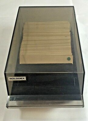 Vintage ROLODEX Covered Card File VIP 24C Blank Cards & Transparent Sleeves