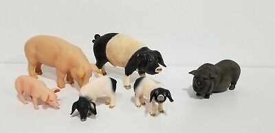 Schleich Mojo lot of 6 Swabian Animal Pot Bellied Pig piglet figures Exc. condit