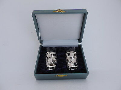 Ultra Fine Rare Pair Japanese Sterling Silver Cup Holders W Glass Inserts Japan