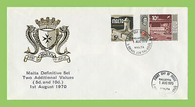 Malta 1970 5d & 10d additional definitives First Day Cover, Valletta