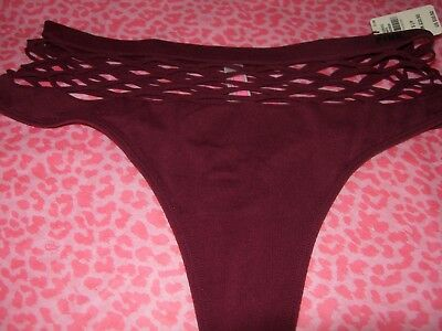 87f35aac19 Victoria s Secret Pink Fishnet Netted Burgundy High Waist Thong Stretch  Panties