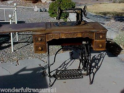 BEAUTIFUL Antique Brunswick TREADLE Sewing Machine DETAILED CARVED WOOD!