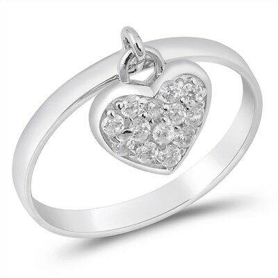 .925 Sterling Silver Clear CZ Dangle Heart Charm Promise Ring Size 3-13