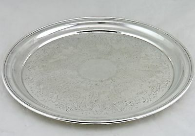 Vintage Silver Plated Serving Tray Round Classic Etched 12'' A