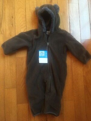 NWT Columbia Tiny Bear Brown Fleece Bunting Winter Suit Bear Ears 6-12M