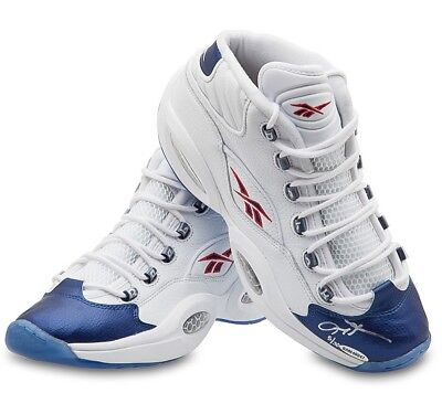Allen Iverson Signed Autographed Reebok Shoes Blue Toe Mid 76ers Sixers /30 UDA
