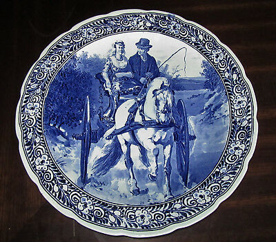 """Vintage Delfts Royal Sphinx 15 3/4"""" Wall Plate/Charger - Horse & Carriage Scene"""