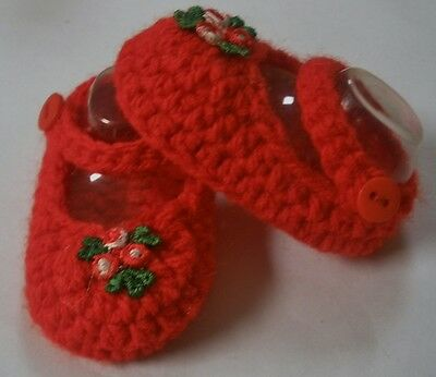 Red flower Mary Jane booties/shoes/slippers: Dolls Clothes for Baby Born