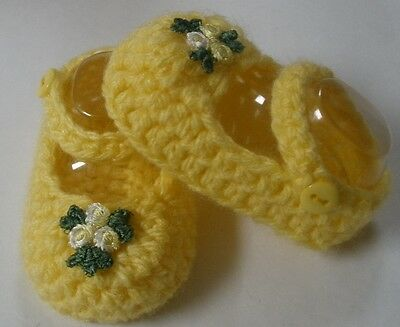 Yellow flower Mary Jane booties/shoes/slippers: Dolls Clothes for Baby Born