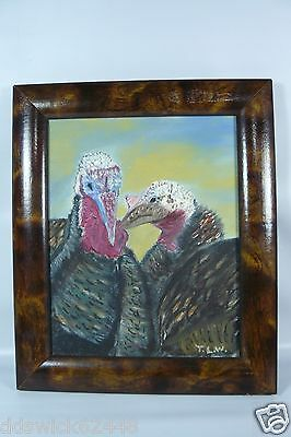 Framed Painting of PAIR OF WILD TURKEYs - Close up View - Sign T.L.W.