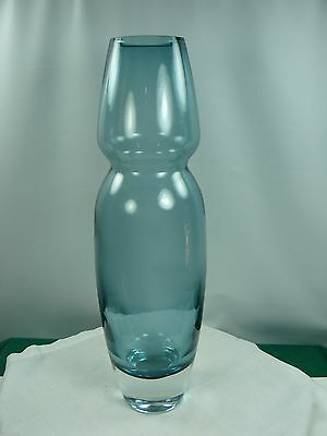 Waterford Crystal Vase Smoke Blue Danish Modern Style 16 in tall marked MARQUIS