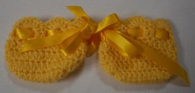 "Dolls Clothes for 16"" Cabbage Patch Kid: Yellow booties/shoes ribbon tie"