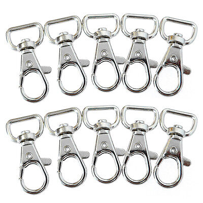 10pcs Silver Metal Lanyard Hook Swivel Snap Hooks For Key Chain Clasp Clips