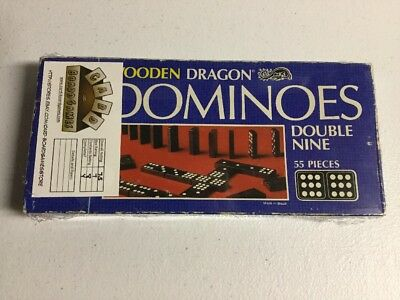 Vintage 1983 Wooden Dragon Dominoes Double Nine Milton Bradley MB Complete! (55)