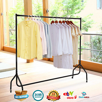 Mobile Clothes Rack On Wheel Rail Hanger Coat Stand DryCleaner Business Home NEW