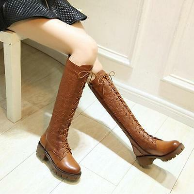 Fashion Women Leather Carved Block Heel Lace Up Zip Knee High Boots Riding Shoes