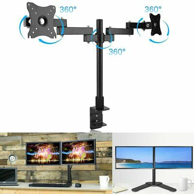 Dual Arm Hold 2 LCD Screen Folding Desk Mount TV Monitor Display Stand Bracket