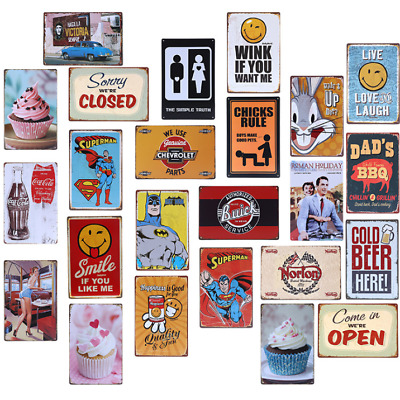 Metal Sign Retro Tin Vintage Plaques Bar Club Wall Decor Antiques Comics  20*30