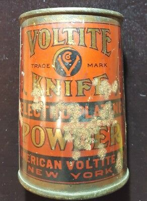 Antique American Voltite Knife Electroplating Powder Can Nyc Ny Silver Plating