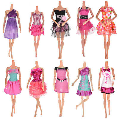 10x Fashion Party Dresses Clothes Gown For Barbie Dolls Girls Random Pick FT