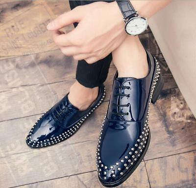 gents Mens Lace Up Pointed Toe Rivet Casual Business Patent Leather Dress Shoes
