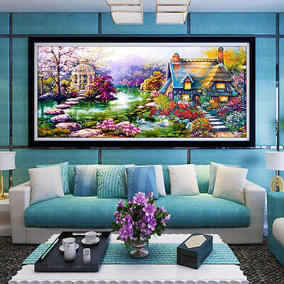 DIY 5D Diamond mosaic Landscapes Garden lodge Painting Cross Stitch Kits  2018