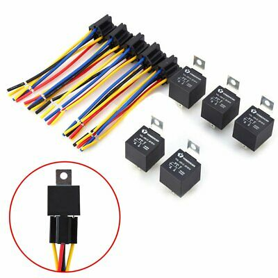 5pcs 30/40 Amp 5-Pin Car SPDT 12V Automotive Relay w/ Wires & Harness Socket NEW