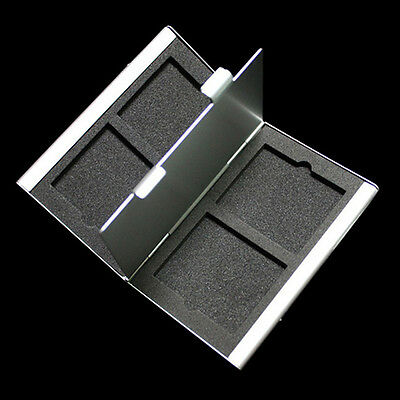 Silver Aluminum Compact 4 CF Memory Card Storage Box Case Holder Protecter