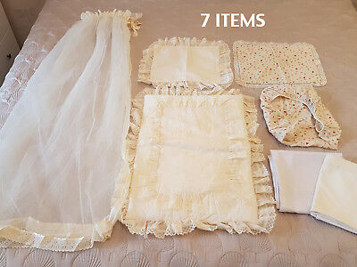 Vintage 7x Piece Baby Girls Ivory Bassinet Canopy, Liner, Sheets, Pillowcases