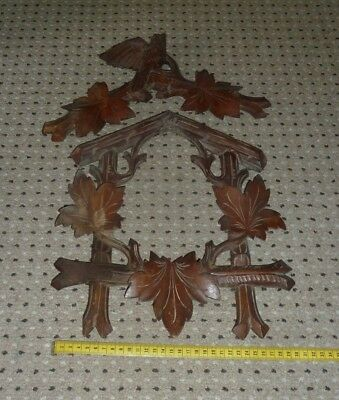 Antique hand carved wooden surround & top piece for cuckoo clock