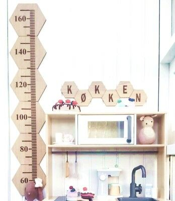 Baby Kids Growth Chart Wooden Hanging Height Ruler Wall Decals Children 60-160cm