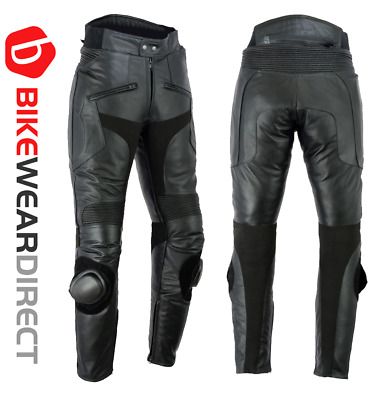 Leather Motorbike Biker Trousers Motorcycle CE Sports Armoured Racing Sliders
