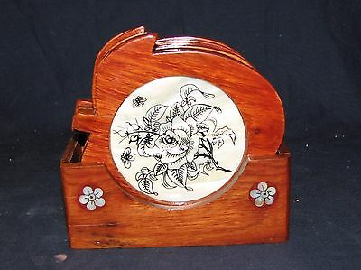 Vintage Apple Shape Japanese Lacquer Mother Of Pearl Inlay Coaster Set