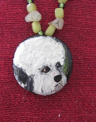 Dandie Dinmont Terrier hand painted on  round glass pendant/bead/necklace