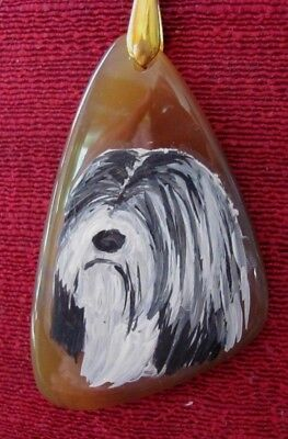 Tibetan Terrier hand painted on large, triangular Agate pendant/bead/necklace