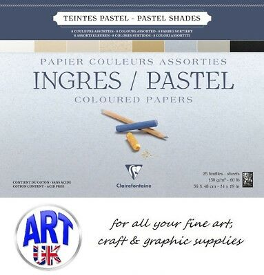 INGRES PASTEL PAPER PAD 130gsm 8 Assorted Colours artist soft 25 sheets