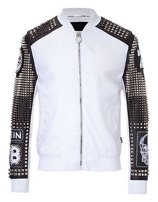 Mens Fashion Handmade Black&White  Real Leather Studded Style Motor Bike Jacket