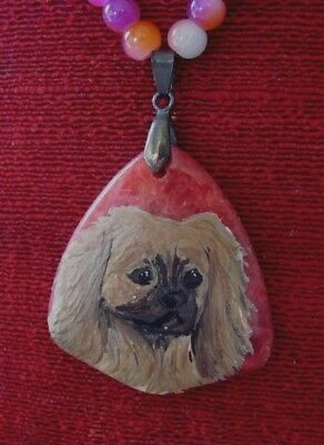 Tibetan Spaniel hand painted on cheveron pendant/bead/necklace