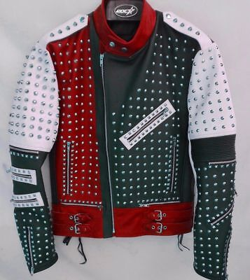 Mens Handmade Fashion Jacket Real Leather Silver Studded Style Vntage Jackets