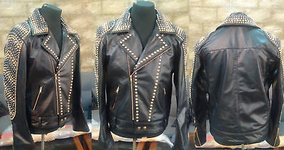 Mens Handmade Fashion Jacket Real Leather Gold Studded Style Vintage Jackets