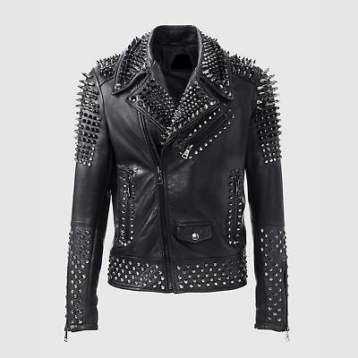 Mens Fashion Jackets Handmade Real Leather Silver Studded Style Cowhide Zipper