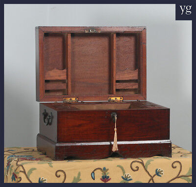 Antique Victorian Colonial Campaign Teak Writing Jewellery Sewing Box c.1870