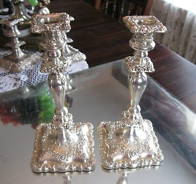 Large Gorgeous Antique Baroque  Silver Plate Candlesticks Holders