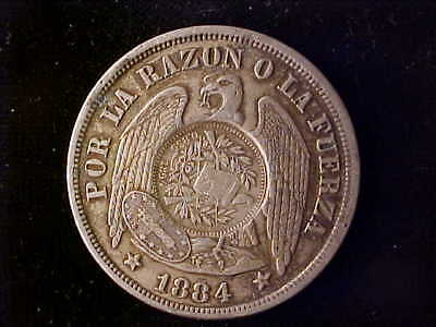 GUATEMALA 1894 C/S ON CHILE ONE PESO 1884 NEARLY EF (imho)