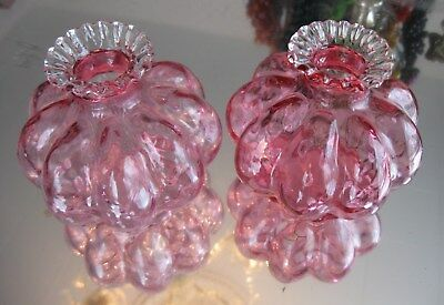 Fabulous Pair Antique Cranberry Glass Rigaree Gourd Shape   Candle Holders