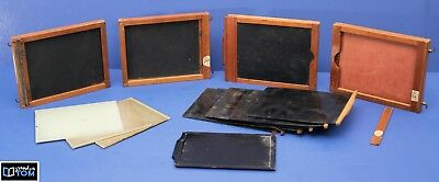 Lot of 4 VINTAGE Wooden Film Negative Holders 4x5 Glass and other negatives