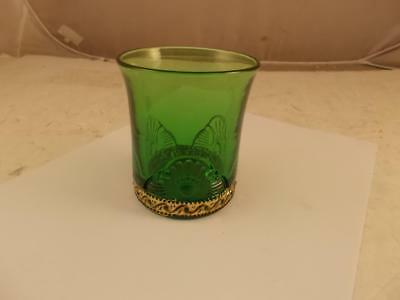 Vintage Victorian Lacy Medallion Colorado Pattern Emerald Green Tumbler Glass