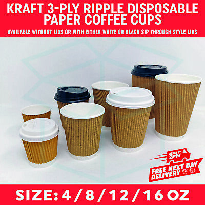 4/8/12/16oz KRAFT 3-PLY RIPPLE DISPOSABLE PAPER COFFEE CUPS - UK MANUFACTURER