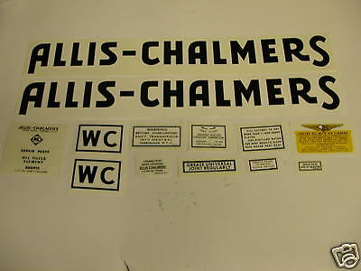 Allis Chalmers WC Tractor Decal Set Black NEW FREE SHIPPING